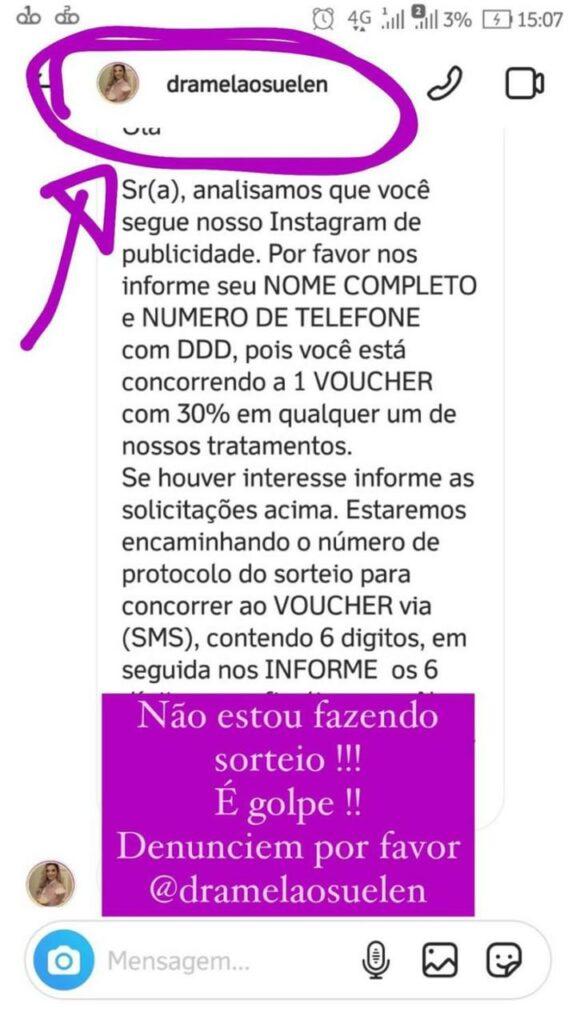 """Estelionatários """"clonam"""" Instagram de cirurgiã plástica de Três Lagoas na tentativa de aplicar golpes"""