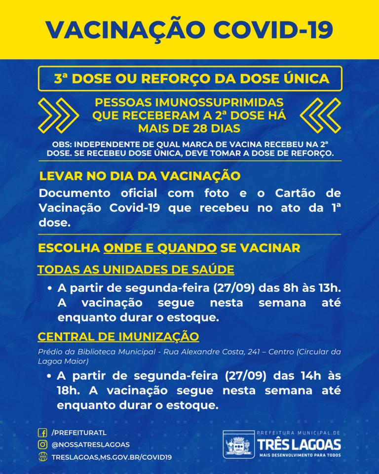 SMS continua vacinação contra Covid-19 e abre 3ª dose para profissionais de saúde