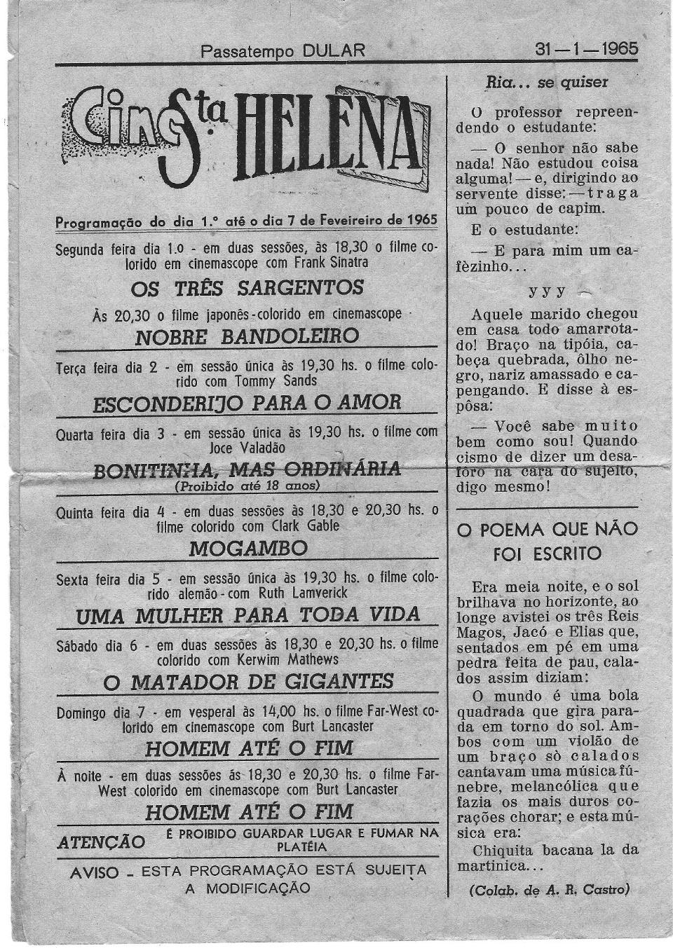 02. PASSATEMPO DULAR - 10 a 31.01.1965